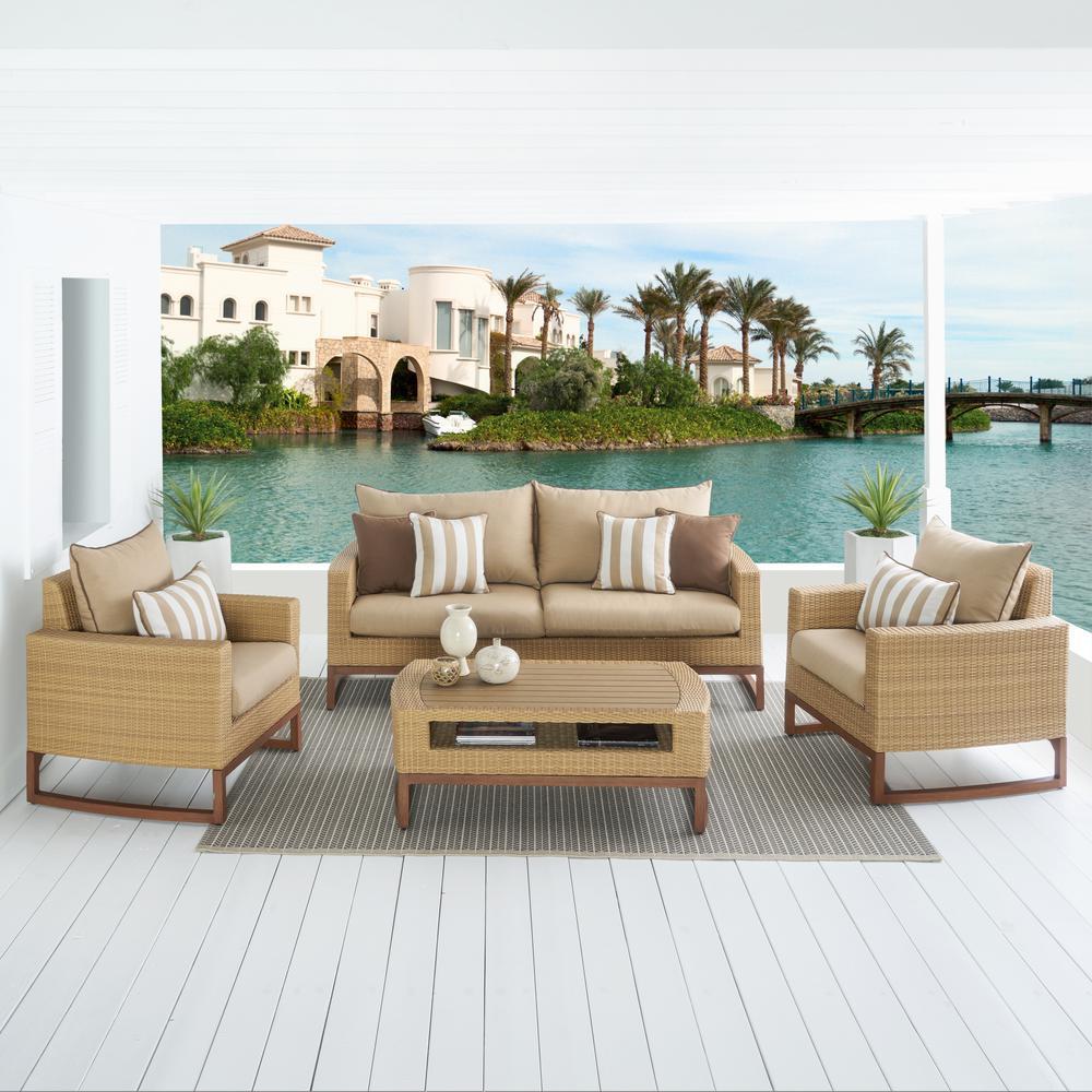 Mili 4-Piece Wicker Patio Conversation Deep Seating Set with Sunbrella Maxim Beige Cushions