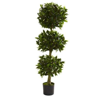 5 ft. UV Resistant Indoor/Outdoor Triple Bay Leaf Topiary