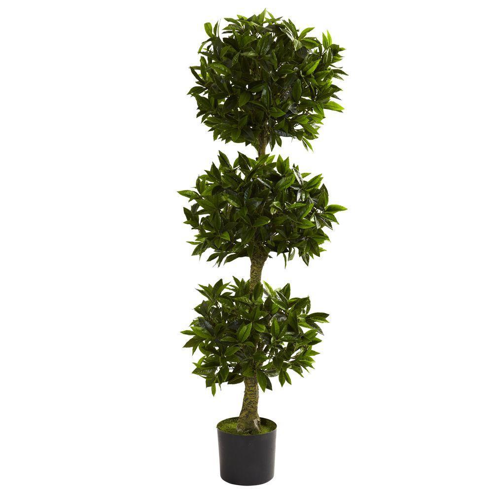 5 ft. UV Resistant Indoor/Outdoor Triple Bay Leaf Topiary