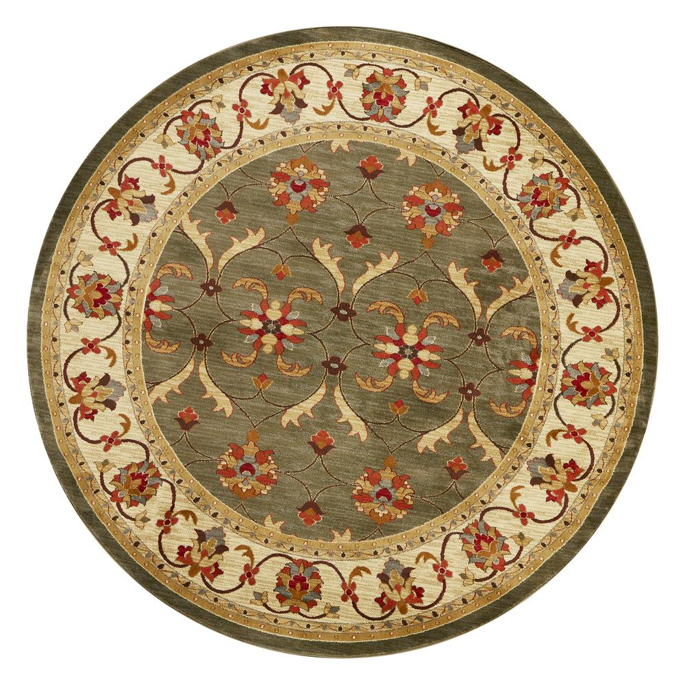 Kas Rugs Lifestyles Green/Ivory Agra 8 ft. x. 8 ft. Round Area Rug was $140.0 now $77.0 (45.0% off)