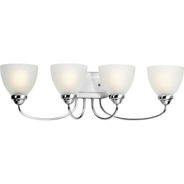 Heart Collection 4-Light Polished Chrome Bathroom Vanity Light with Glass Shades