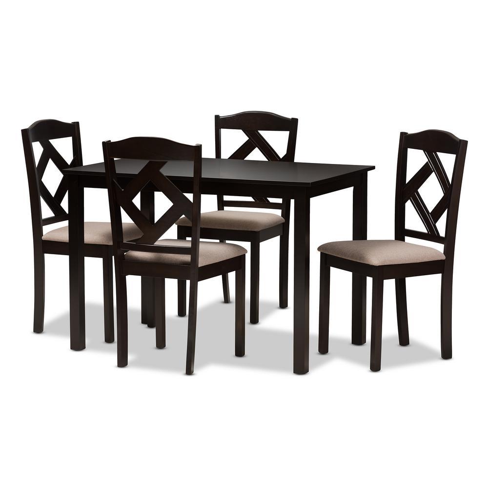 Ruth 5-Piece Beige and Dark Brown Dining Set