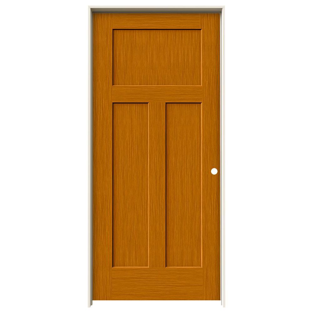 Jeld Wen 36 In X 80 In Craftsman Saffron Stain Left Hand Solid Core Molded Composite Mdf