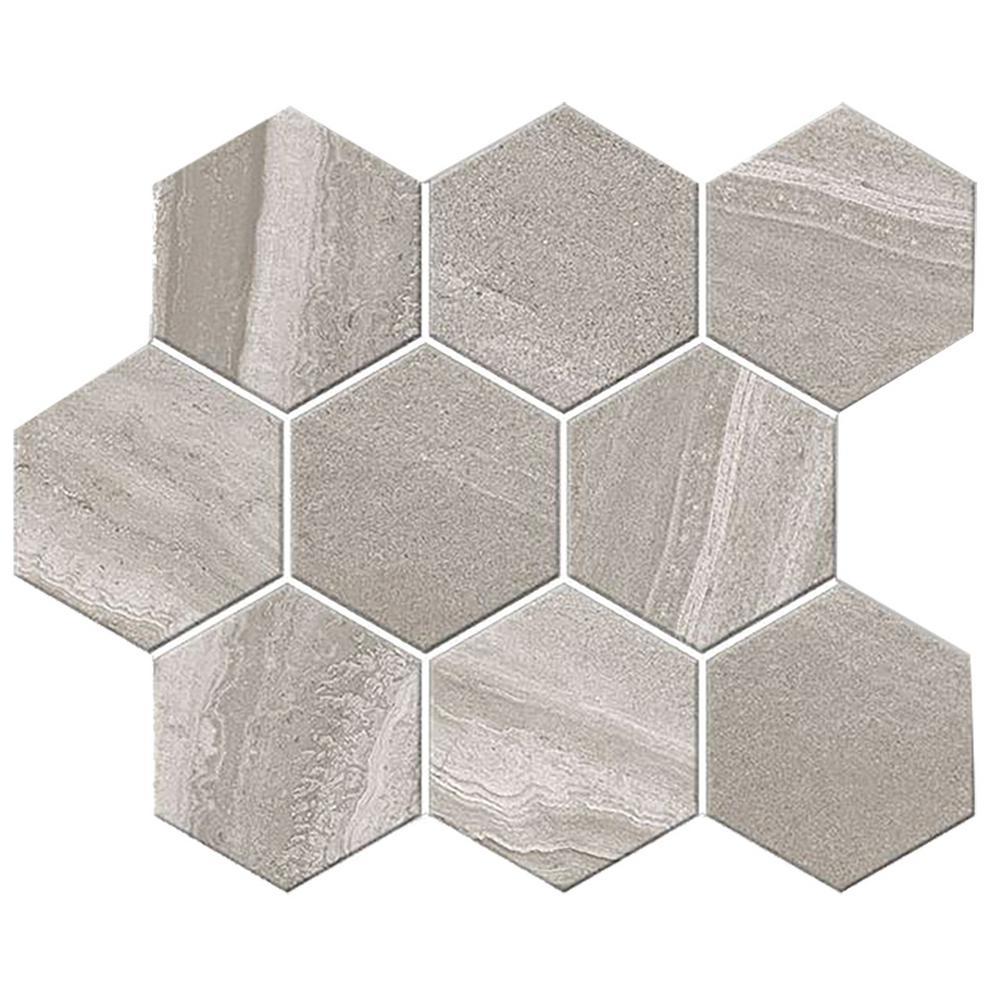 Aspen Granite 4 in. Hexagon 12 in. x 12 in. x 9mm Porcelain Mesh-Mounted Mosaic Tile