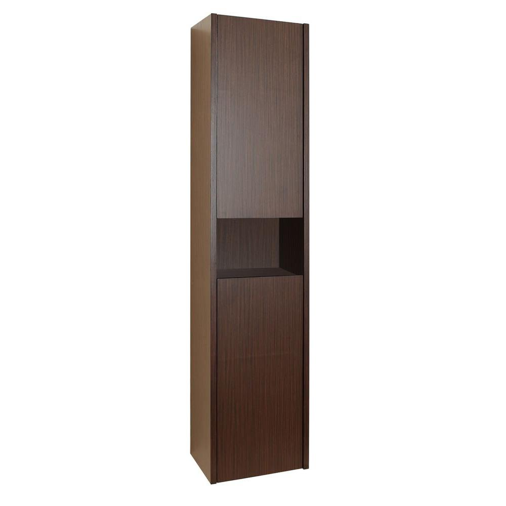 Virtu USA Delmore 11-6/8 in. W x 55-1/10 in. H x 8-7/8 in. D Bathroom Storage Wall Cabinet in Walnut