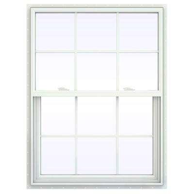 35.5 in. x 53.5 in. V-2500 Series Single Hung Vinyl Window with Grids - White