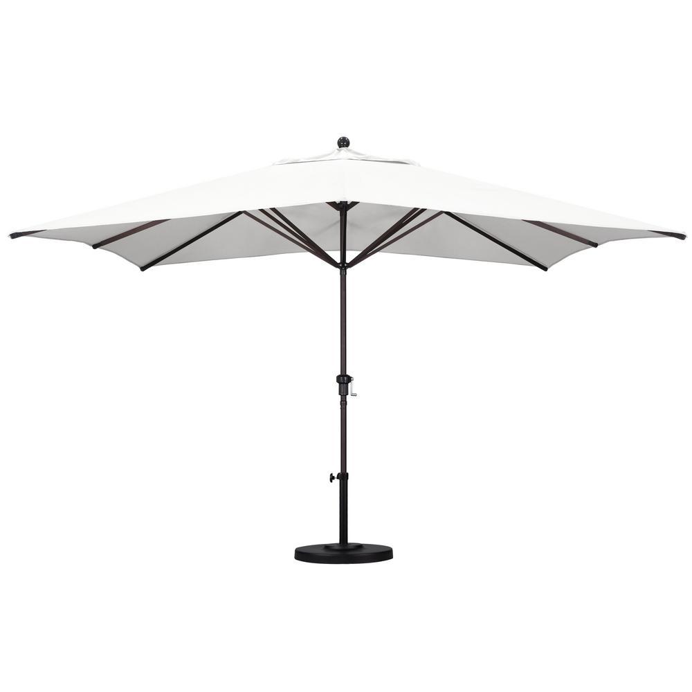 11 ft. Bronze Aluminum Patio Market Umbrella with Crank Lift in Natural Sunbrella