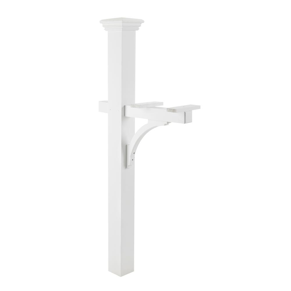 Good Directions Lazy Hill Farm 84 in. Sovereign Mailbox Post, White