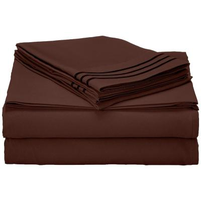 1500 Series 4-Piece Chocolate Brown Triple Marrow Embroidered Pillowcases Microfiber Twin XL Size Bed Sheet Set