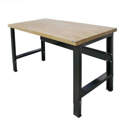 60 in. x 30 in. Heavy Duty Adjustable Height Workbench with Solid Hardwood Top