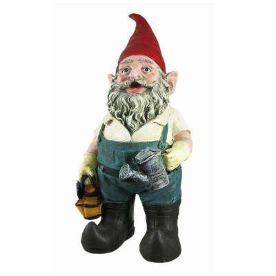 14 in. H Gardener Gnome Holding a Watering Can and Garden Tool Bag Home and Garden Gnome Statue