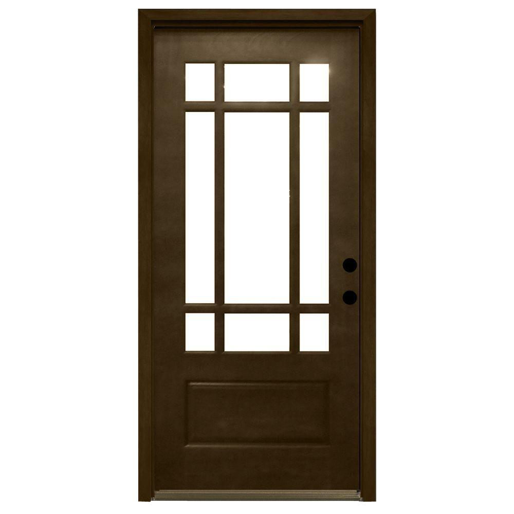 Steves & Sons 32 in. x 80 in. Craftsman 9 Lite Stained Mahogany Wood Prehung Front Door