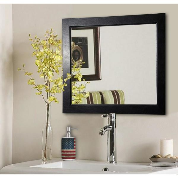 25 in. x 25 in. Black Superior Square Vanity Wall Mirror