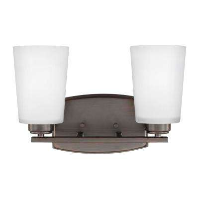 Franport 2-Light Burnt Sienna Bath Light with LED Bulbs