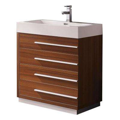 Livello 30 in. Bath Vanity in Teak with Acrylic Vanity Top in White with White Basin