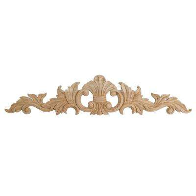 2-5/8 in. x 12 in. x 3/8 in. Unfinished Small Hand Carved North American Solid Red Oak Wood Onlay Acanthus Wood Applique