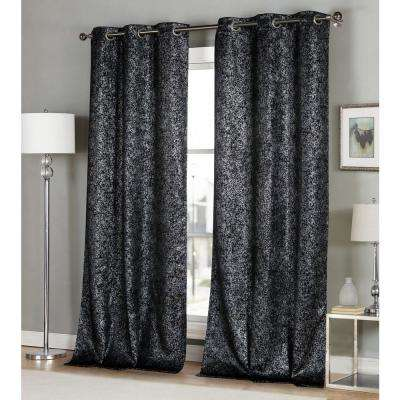 Maddie 38 in. x 96 in. L Polyester Blackout Curtain Panel in Black (2-Pack)