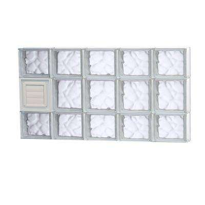 38.75 in. x 19.25 in. x 3.125 in. Frameless Wave Pattern Glass Block Window with Dryer Vent
