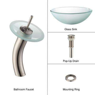 Frosted Glass Vessel Sink in Clear with Single Hole Single-Handle Low-Arc Waterfall Faucet in Satin Nickel