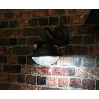 Barn Solar Brown Outdoor Integrated LED Wall Light Sconce with Motion Sensor Sconce