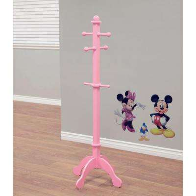 6-Hook Composited Wood Coat Rack in Pink