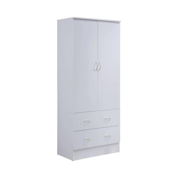 2-Door 72 in. H x 31.5 in. W x 17 in. D Armoire with 2-Drawers in White