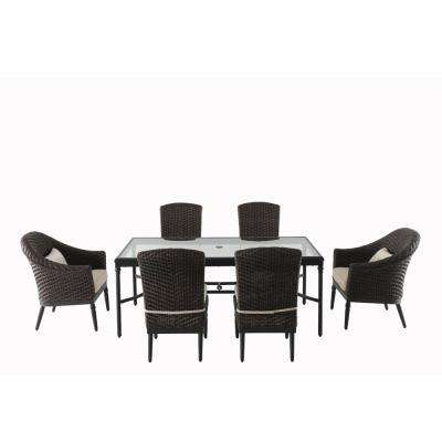 Camden Dark Brown 7-Piece Wicker Outdoor Dining Set with Cushions Included, Choose Your Own Color
