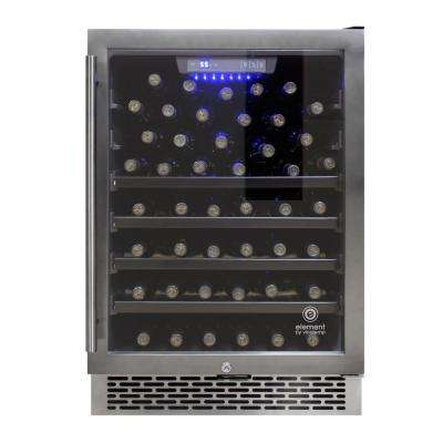 23.4 in. W 54-Bottle Smoked Black Stainless Steel Wine Cooler