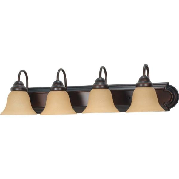 4-Light Mahogany Bronze Vanity Light with Champagne Linen Washed Glass