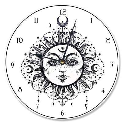 """Tarot Black and White Sun"" by Daphne Polselli Wall Clock"