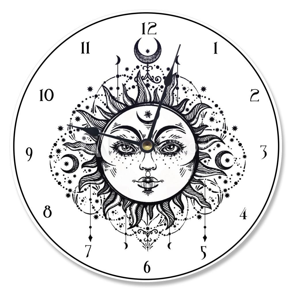 """Tarot Black and White Sun"" by Daphne Polselli Wall Clock"