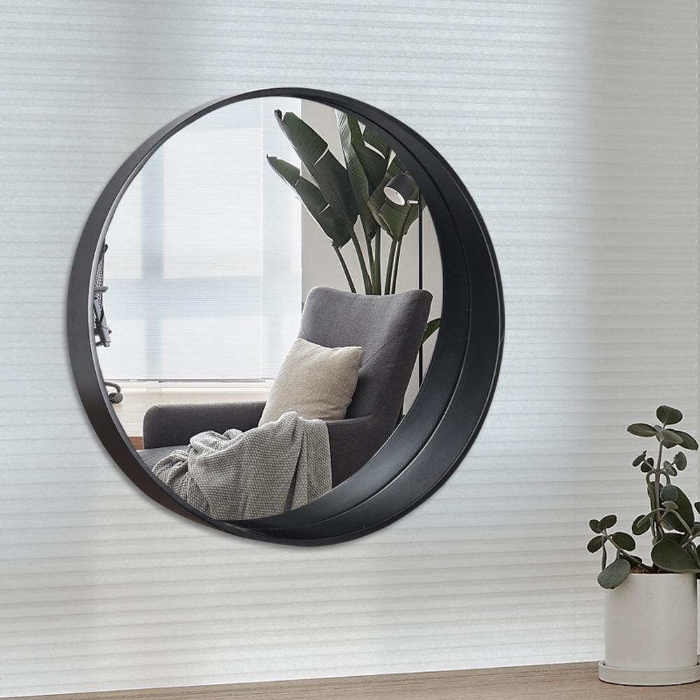 Neu Type Bent Wood Round Hanging Wall Mounted Vanity Mirror Jj00770aaf The Home Depot