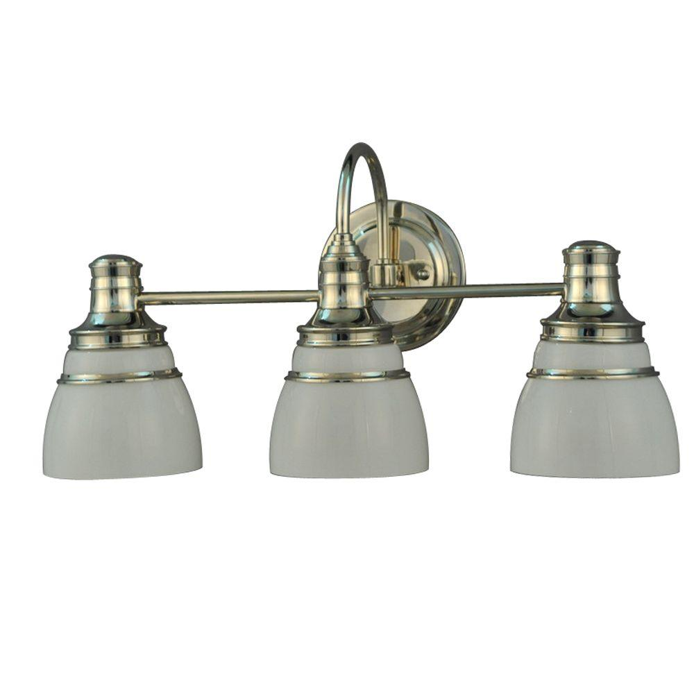 Martha Living Seal Harbor Collection 3 Light Polished Nickel Plated Vanity