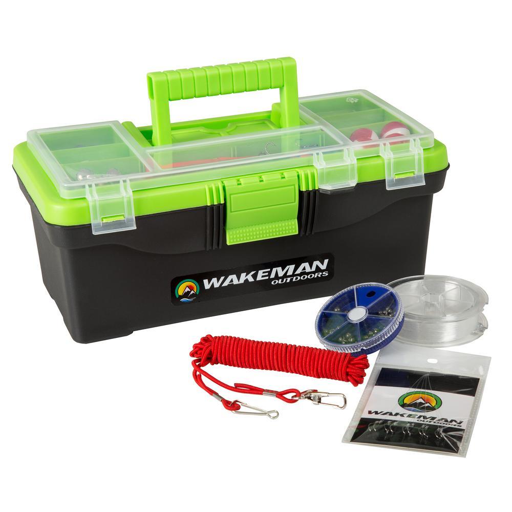 Lime Green Fishing Single Tray Tack Box Tackle Kit (55-Pieces)
