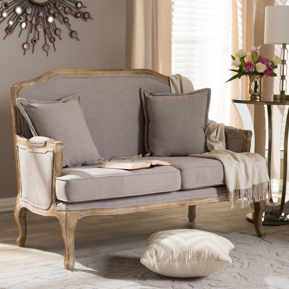 Superieur Baxton Studio Constanza French Inspired Beige Fabric Upholstered Loveseat