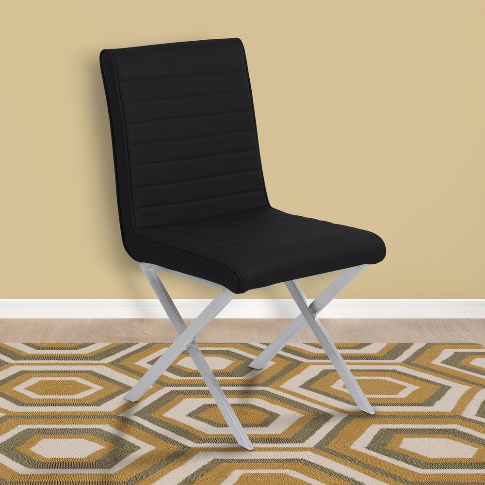 Tempe 36 in. Black Faux Leather and Brushed Stainless Steel Finish