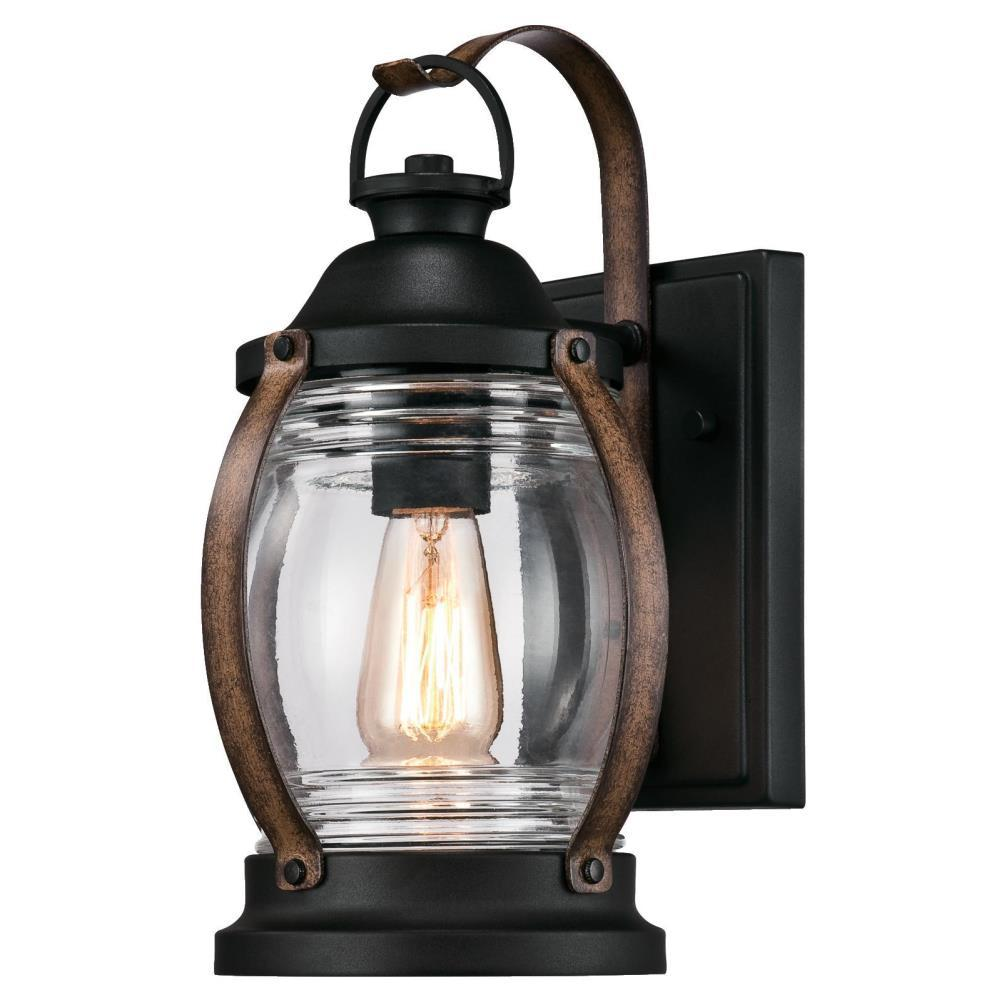 Westinghouse Canyon 1 Light Textured Black And Barnwood Outdoor Wall Mount Lantern 6335100 The
