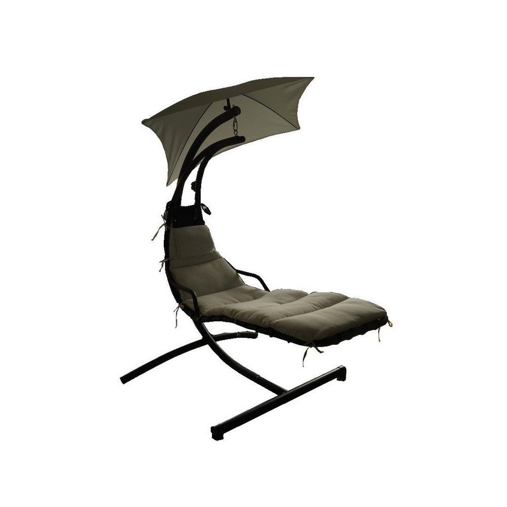 La Vida Black Metal Outdoor Hanging Lounge Chair with White Cushion  sc 1 st  The Home Depot & Noble House La Vida Black Metal Outdoor Hanging Lounge Chair with ...