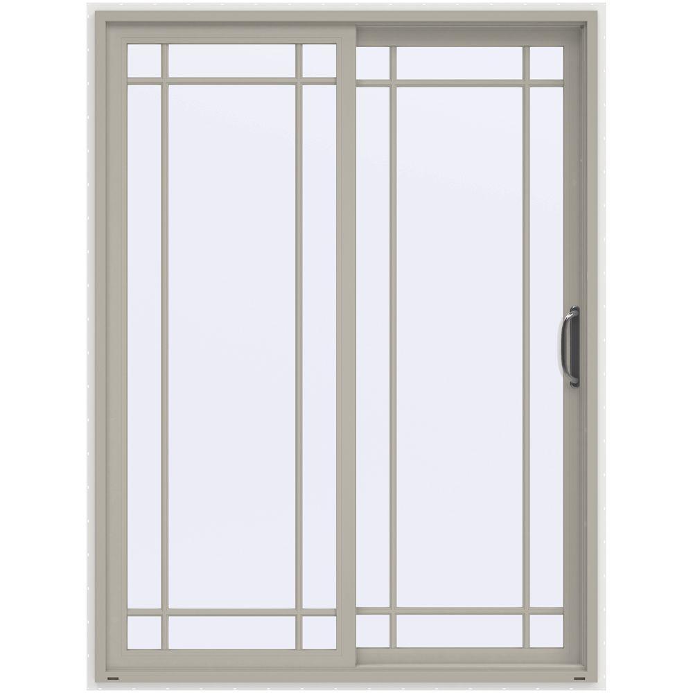 60 in. x 80 in. V-4500 Desert Sand Prehung Right-Hand Sliding 9 Lite Vinyl Patio Door with White Interior