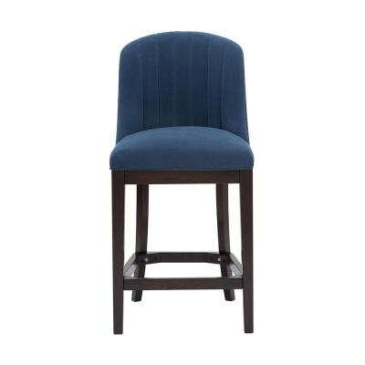 Ingram Upholstered Counter Stool with Channel Tufted Back and Midnight Blue Seat (20 in. W x 41.34 in. H)