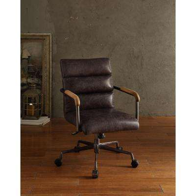 Harith Top Grain Leather Office Chair in Antique Ebony