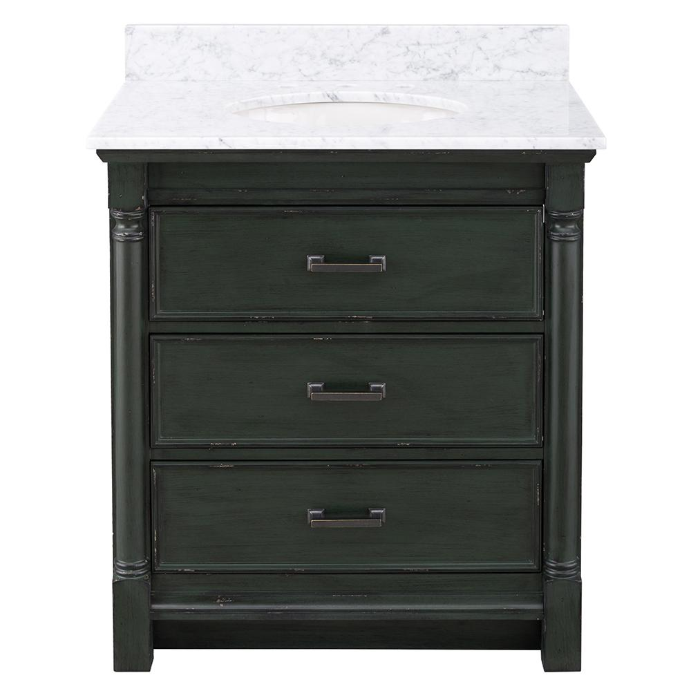 Home Decorators Collection Greenbrook 31 in. W x 22 in. D Vanity in Vintage Forest Green with Marble Vanity Top in Carrara Marble with White Sink