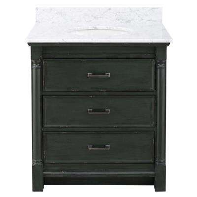 Greenbrook 31 in. W x 22 in. D Vanity in Vintage Forest Green with Marble Vanity Top in Carrara Marble with White Sink