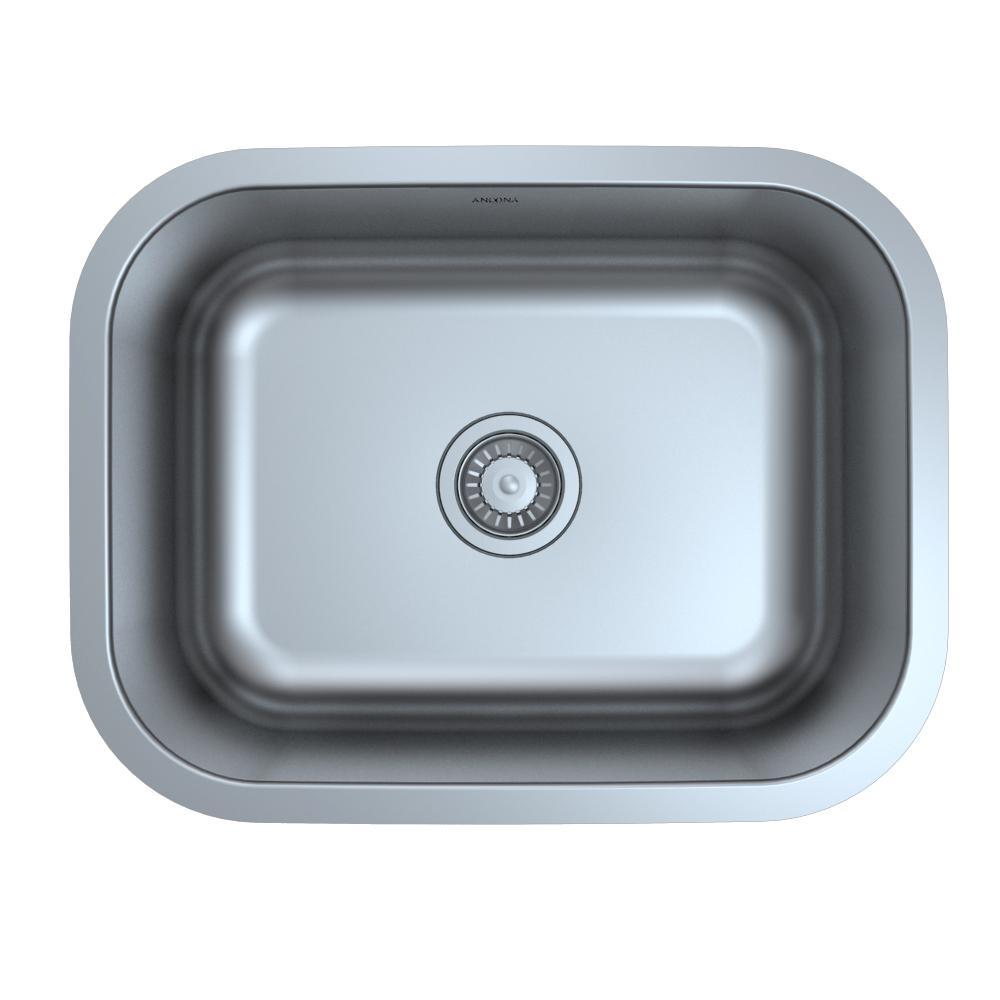 Capri Series Undermount 23 in. Single Bowl Kitchen Sink in Satin Stainless Steel with Strainer