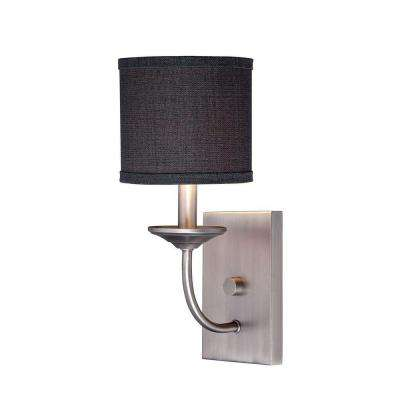 Brushed Pewter Candle Sconce with Charcoal Linen Shade