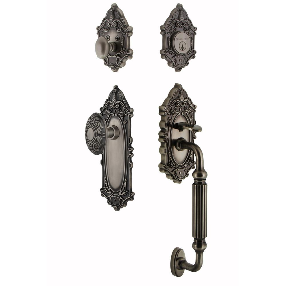 Victorian Plate 2-3/4 in. Backset Antique Pewter F Grip Entry Set
