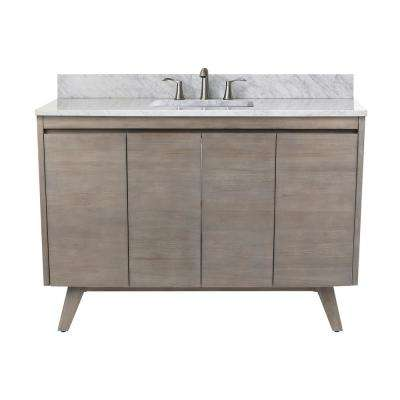 Coventry 49 in. Vanity in Gray Teak with Marble Top Vanity Top in Carrera White with White Basin