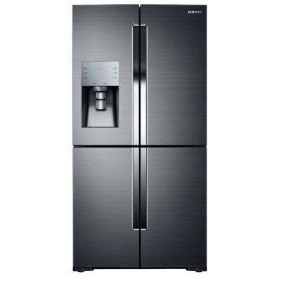 35.75 in. W 28.1 cu. ft. French Door Refrigerator in Black Stainless Steel