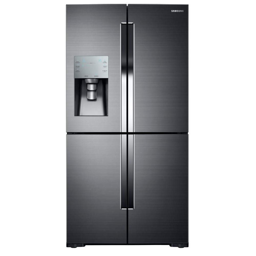 35.75 in. W 28.1 cu. ft. French Door Refrigerator in Black Stainless Steel