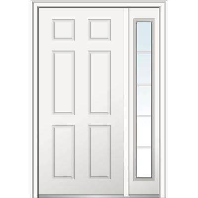 50 in. x 80 in. 6-Panel Left Hand Classic Primed Fiberglass Smooth Prehung Front Door with One Sidelite